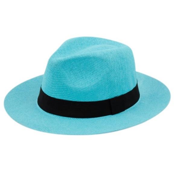 684c3af00c5e5d Accessories | Unisex Turquoise Straw Panama Hat | Poshmark